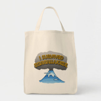 I Survived Eyjafjallajokull Volcano Tshirt Grocery Tote Bag
