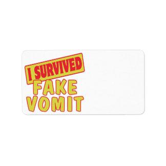 I SURVIVED FAKE VOMIT PERSONALIZED ADDRESS LABELS