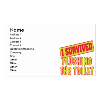I SURVIVED FLUSHING THE TOILET BUSINESS CARD TEMPLATES