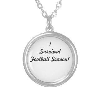 I survived football season! round pendant necklace