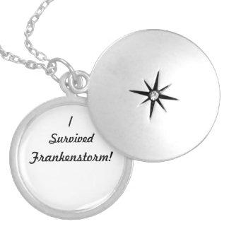 I survived Frankenstorm! Round Locket Necklace