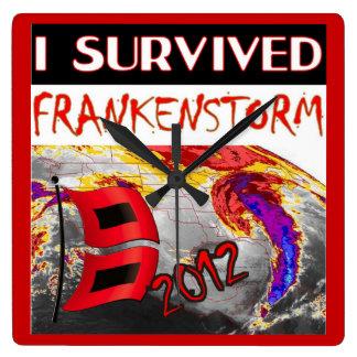 I SURVIVED FRANKENSTORM The storm of 2012 Square Wall Clock
