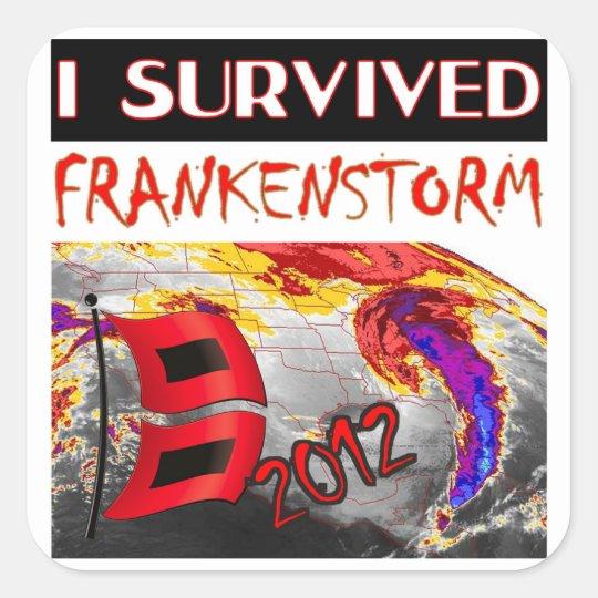 I SURVIVED FRANKENSTORM The storm of 2012 Square Sticker