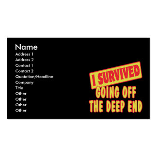 I SURVIVED GOING OFF THE DEEP END BUSINESS CARD TEMPLATE