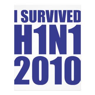 """I SURVIVED H1N1 2010 in blue 8.5"""" X 11"""" Flyer"""