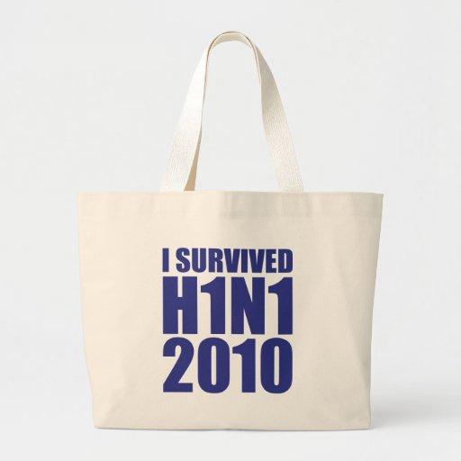 I SURVIVED H1N1 2010 in blue Canvas Bag