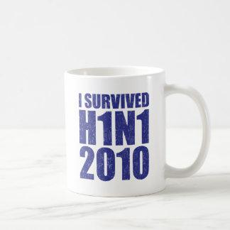 I SURVIVED H1N1 2010 in blue distressed Coffee Mug