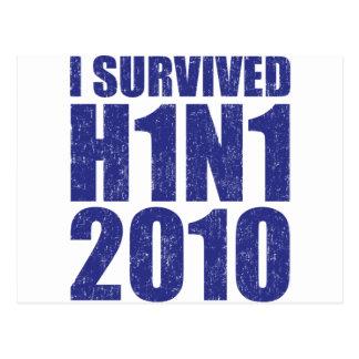 I SURVIVED H1N1 2010 in blue distressed Postcard