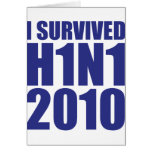 I SURVIVED H1N1 2010 in blue Greeting Cards