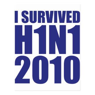 I SURVIVED H1N1 2010 in blue Postcard
