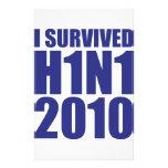 I SURVIVED H1N1 2010 in blue Stationery Design