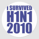 I SURVIVED H1N1 2010 in blue Stickers
