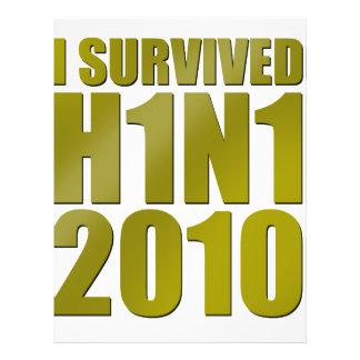 """I SURVIVED H1N1 2010 in gold 8.5"""" X 11"""" Flyer"""