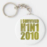 I SURVIVED H1N1 2010 in gold distressed Keychain