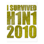 I SURVIVED H1N1 2010 in gold distressed Postcards