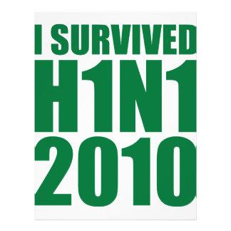 "I SURVIVED H1N1 2010 in green 8.5"" X 11"" Flyer"