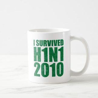 I SURVIVED H1N1 2010 in green distressed Coffee Mug
