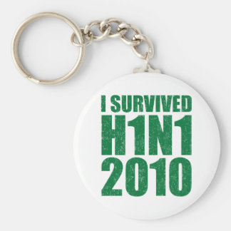 I SURVIVED H1N1 2010 in green distressed Basic Round Button Keychain