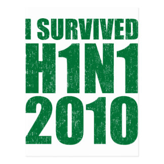 I SURVIVED H1N1 2010 in green distressed Postcard