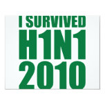 I SURVIVED H1N1 2010 in green 4.25x5.5 Paper Invitation Card