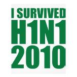 I SURVIVED H1N1 2010 in green Letterhead Design