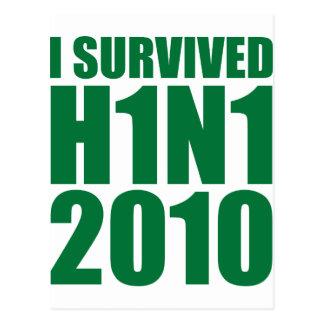 I SURVIVED H1N1 2010 in green Postcard
