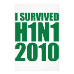 I SURVIVED H1N1 2010 in green Stationery Paper