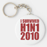 I SURVIVED H1N1 2010 in red distressed Keychain