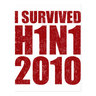 I SURVIVED H1N1 2010 in red distressed Postcard
