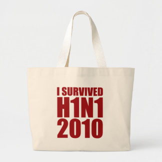 I SURVIVED H1N1 2010 in red Jumbo Tote Bag