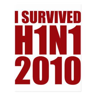 I SURVIVED H1N1 2010 in red Postcard