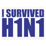 I SURVIVED H1N1 in blue Invitations