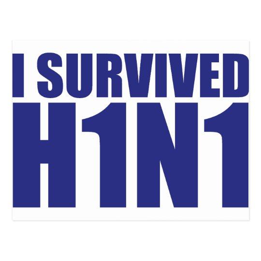I SURVIVED H1N1 in blue Postcard