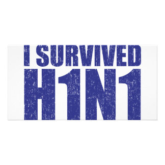 I SURVIVED H1N1 in distressed blue Card