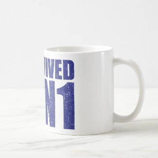 I SURVIVED H1N1 in distressed blue Coffee Mug
