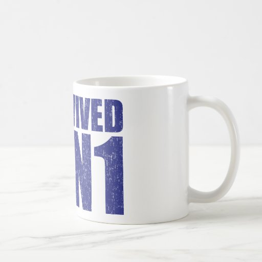 I SURVIVED H1N1 in distressed blue Coffee Mugs