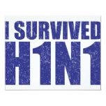 I SURVIVED H1N1 in distressed blue Custom Invites
