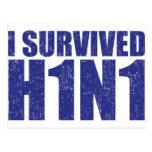 I SURVIVED H1N1 in distressed blue Postcard