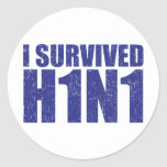 I SURVIVED H1N1 in distressed blue Round Stickers