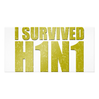 I SURVIVED H1N1 in distressed gold Photo Card