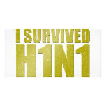 I SURVIVED H1N1 in distressed gold Photo Card Template