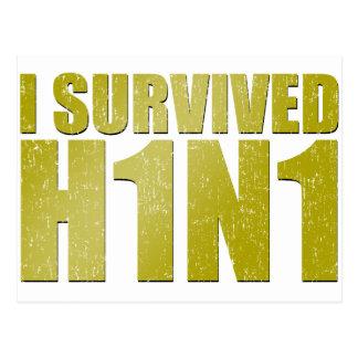 I SURVIVED H1N1 in distressed gold Postcard