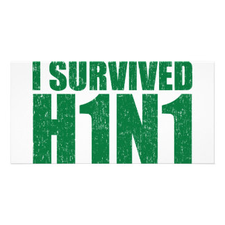 I SURVIVED H1N1 in distressed green Photo Card