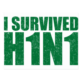 I SURVIVED H1N1 in distressed green Postcard