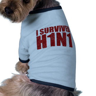 I SURVIVED H1N1 in distressed red Doggie Tee Shirt