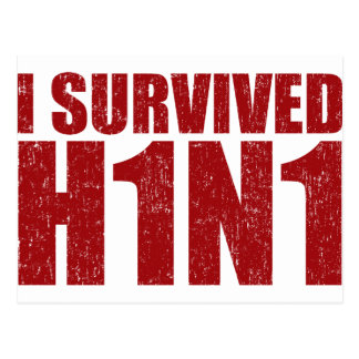 I SURVIVED H1N1 in distressed red Postcard