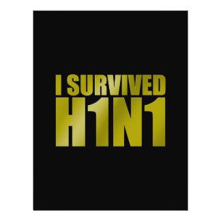 """I SURVIVED H1N1 in gold on black 8.5"""" X 11"""" Flyer"""