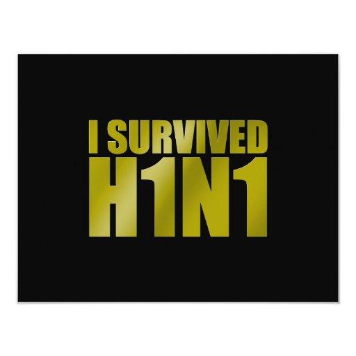 I SURVIVED H1N1 in gold on black 4.25x5.5 Paper Invitation Card