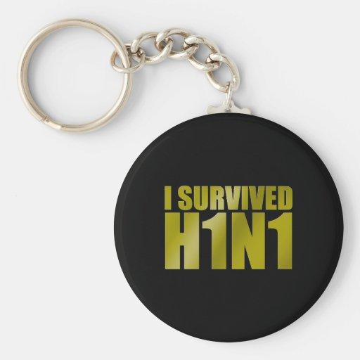 I SURVIVED H1N1 in gold on black Keychain
