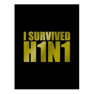 I SURVIVED H1N1 in gold on black Postcard